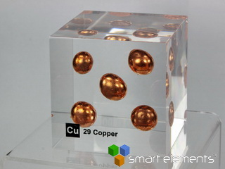 Acrylic Element cube - Copper Cu - 50mm