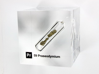 Acrylic Element cube - Praseodymium - 50mm
